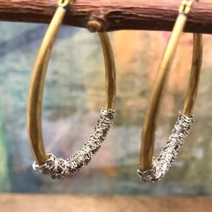 Anthropologie silver chain wrapped oval hoops